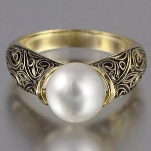 Pretty Girl Swag Jewelry Jewelry - 18K Yellow Gold Plated Scroll Pearl Fashion Ring
